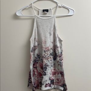white and pink floral tank top